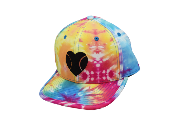 """I Love Beach Tennis"" Flat Bill Hat in Tie-Dye"