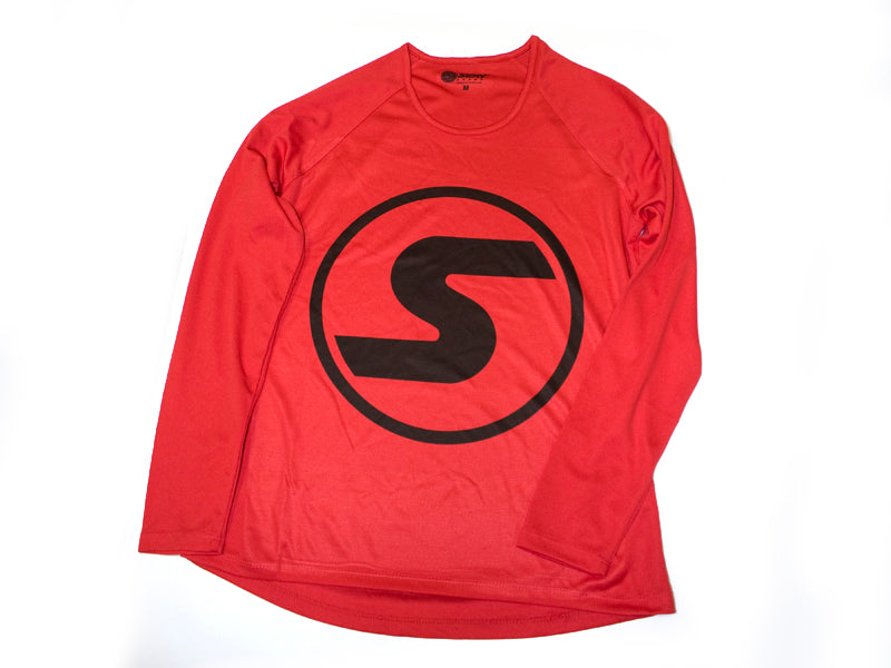 Women's S Logo Light-Weight Long Sleeve in Red
