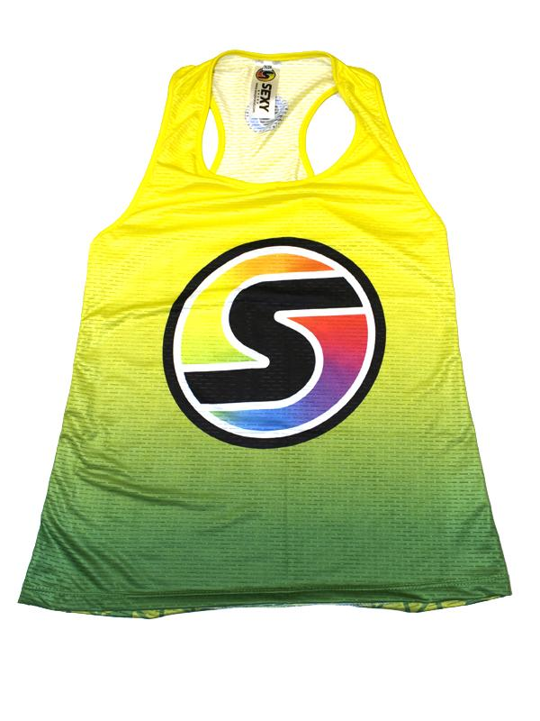Women's Competition Tank in Yellow/Green Ombré