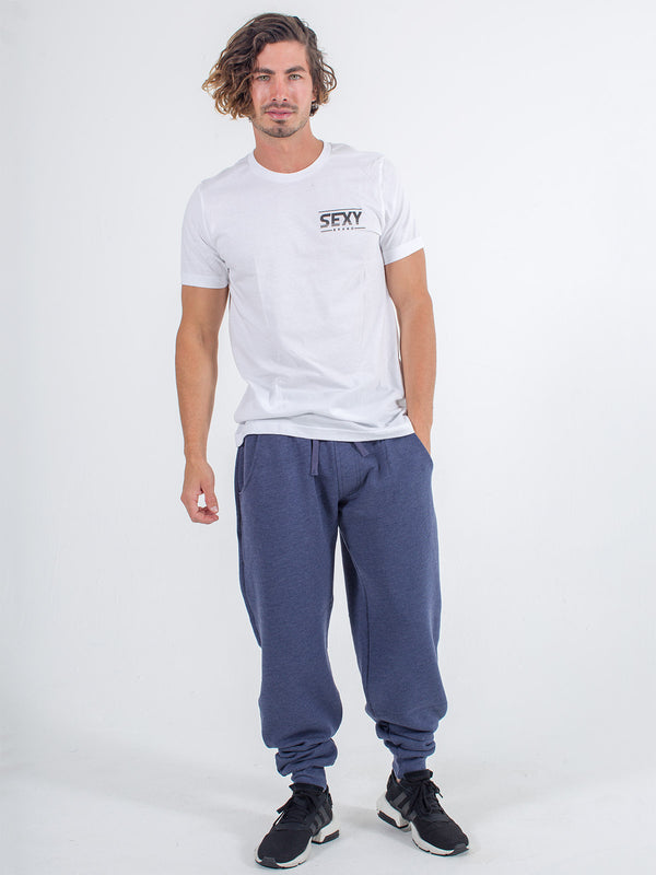 sexy brand small logo classic fit tee t-shirt white retro with mens sweats jogger