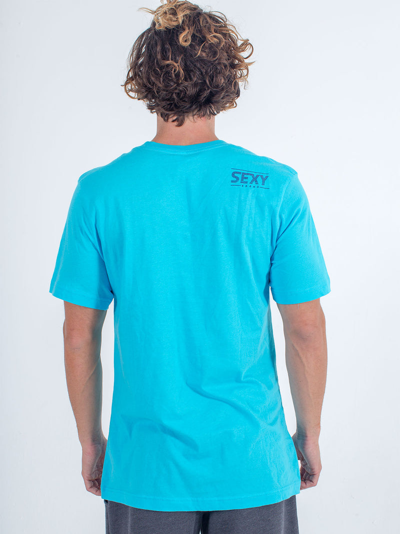 sexy brand blue California horizon t-shirt back view