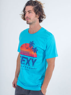 sexy brand men's blue California horizon t-shirt