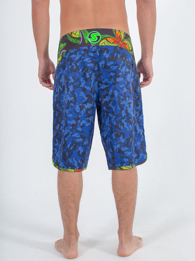 Sexy Brand Mens B'Fly Blue Camo Boardshort back view