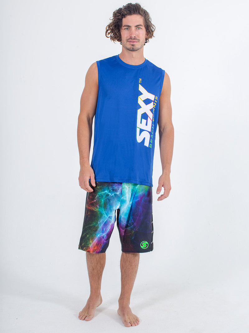 Sexy Brand Stay Dry Competition Tank in Royal Blue with Boardshorts