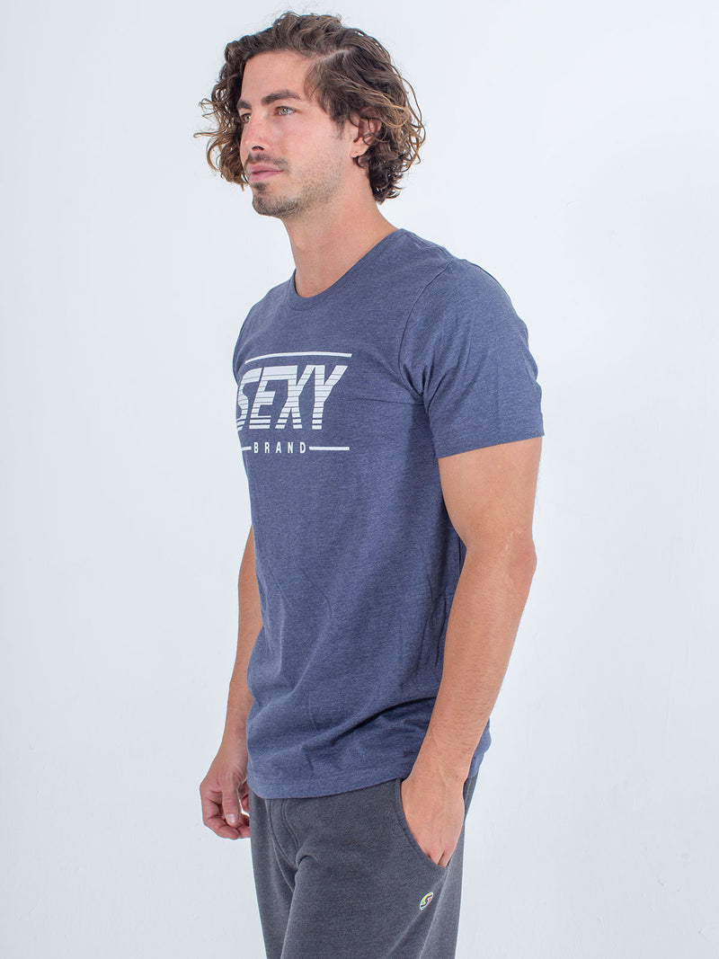 Sexy brand X-Chest Logo Tee T-Shirt in navy blue