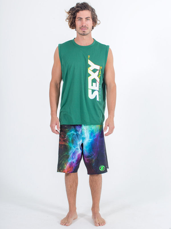 Sexy Brand Stay Dry Competition Tank in Green with boardshorts