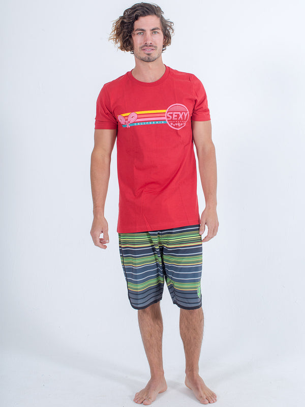 sexy brand mens 3 bar cali shirt in red