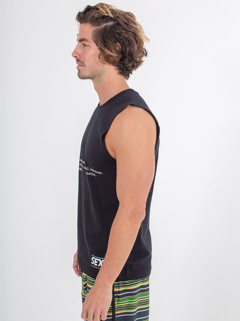 sexy brand mens sexy definition tank black side view