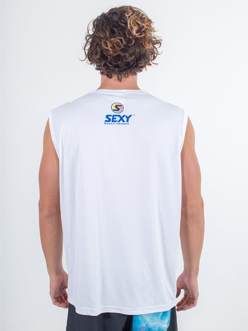 Sexy Brand Stay Dry Competition Tank in White back view
