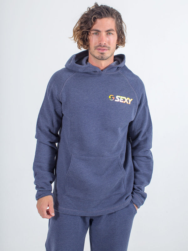 mens sexy brand hoodie in heather navy