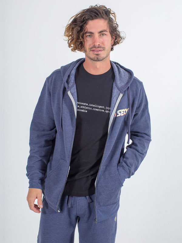 Mens zip up hoodie sexy brand in heather navy