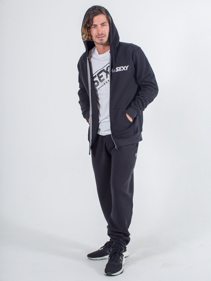 mens sweats joggers sexy brand in black with white t-shirt and black zip up hoodie