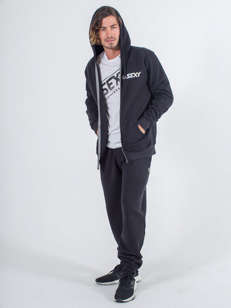 Mens zip up hoodie sexy brand in black with black jogger sweats