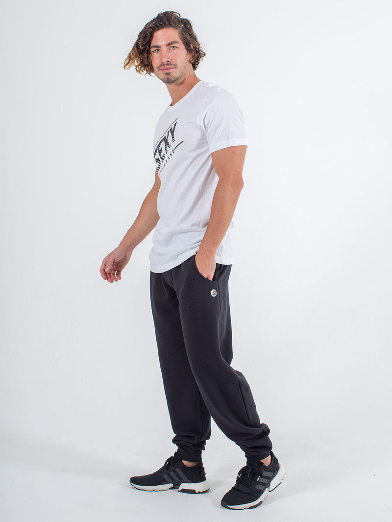 mens sweats joggers sexy brand in black with white tee shirt