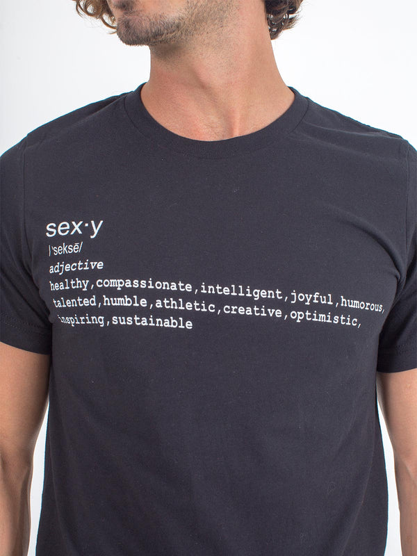 Men's Sexy Brand Sexy Definition Tee T-Shirt Black Close up