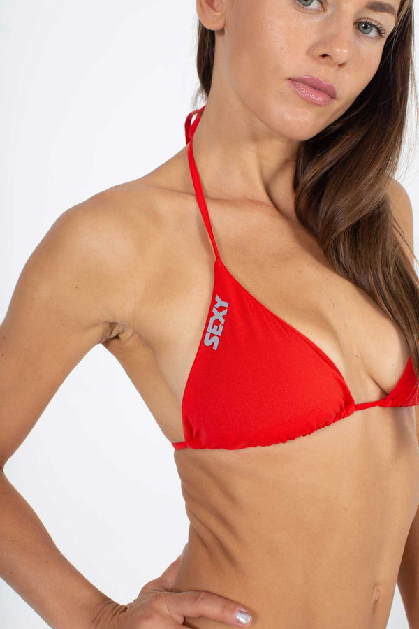 Classic Triangle Swim Top in Red