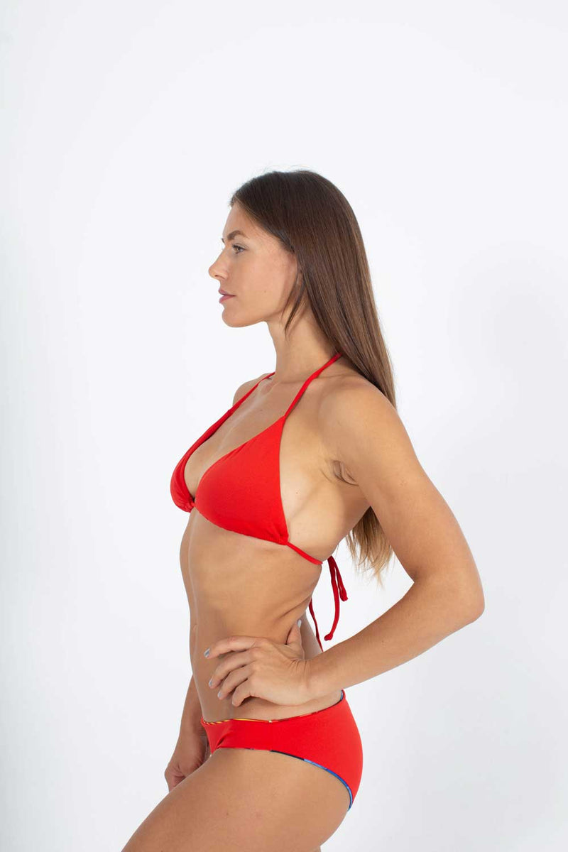 Sexy Brand women's swim bikini red triangle top with euro bottom red side view