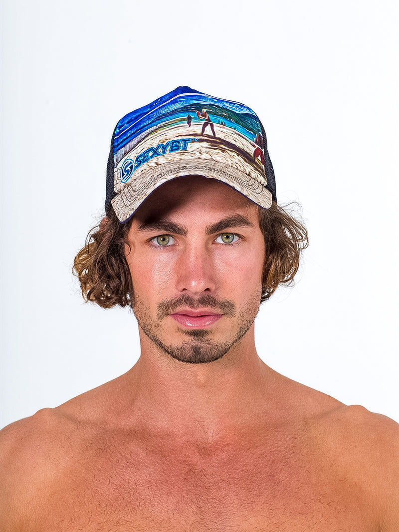 sexy brand trucker hat navy with beach tennis scene and sand bill