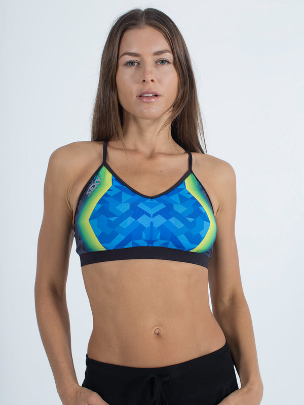 sexy brand womens sports swim top green vibrations