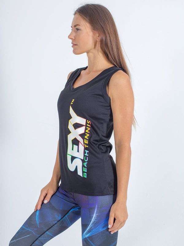 sexy brand womens competition tank v-neck black