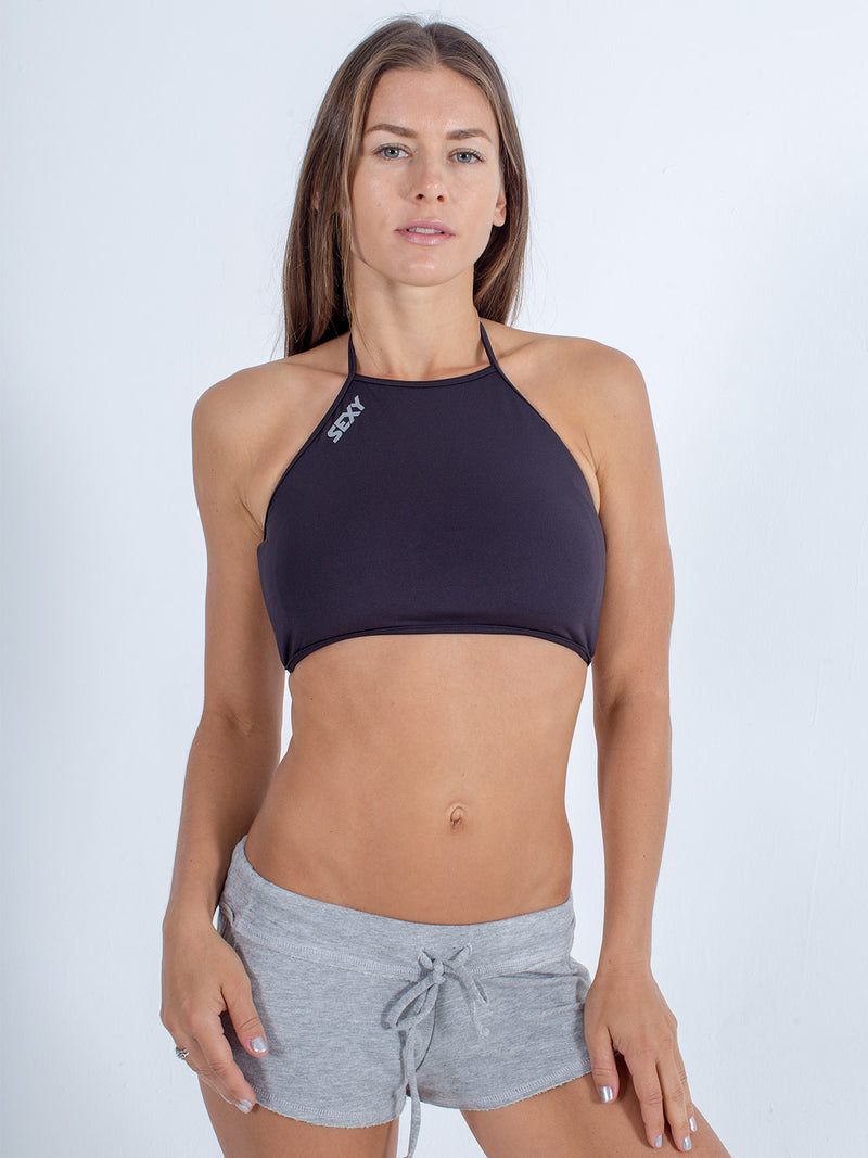 sexy brand swim halter top black with gray softie shorts