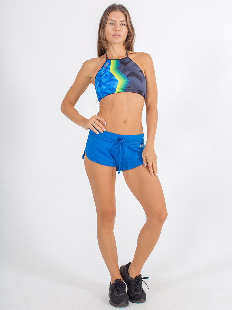 sexy brand softie shorts royal blue with halter swim top