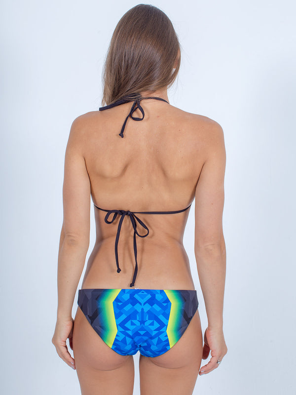 Sexy Brand women's swim bikini blue and green vibrations triangle top back view