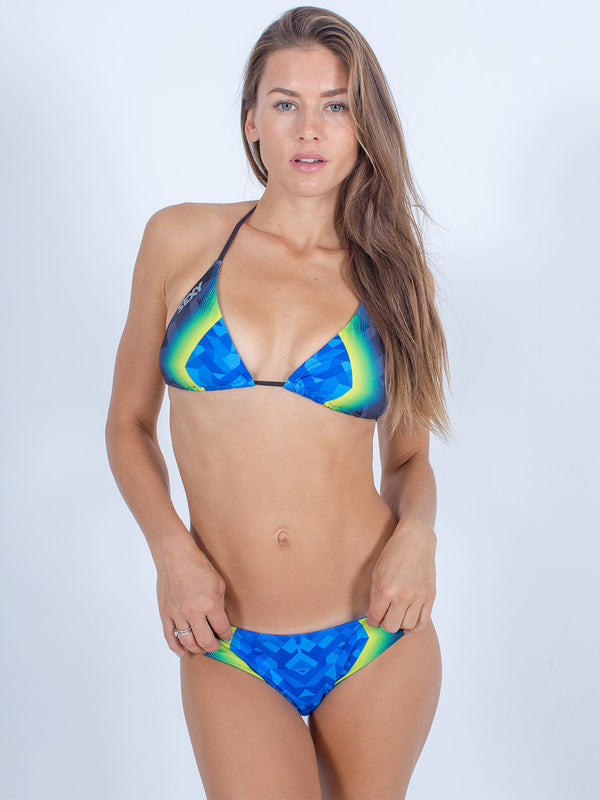 Sexy Brand women's swim bikini blue and green vibrations triangle top