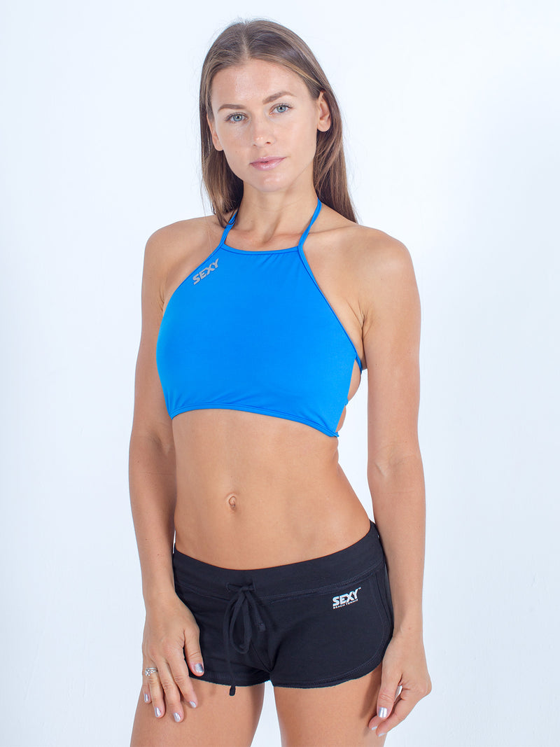sexy brand womens swim halter top aqua blue with black softie shorts