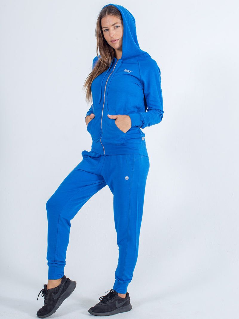 sexy brand womens softie hoodie zipup front royal blue