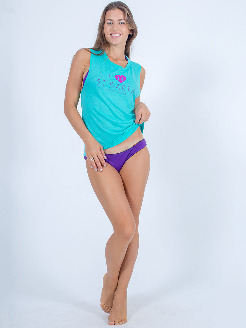 Sexy Brand I love St Barth Flowy Cotton Tank Top Womens Blue Teal