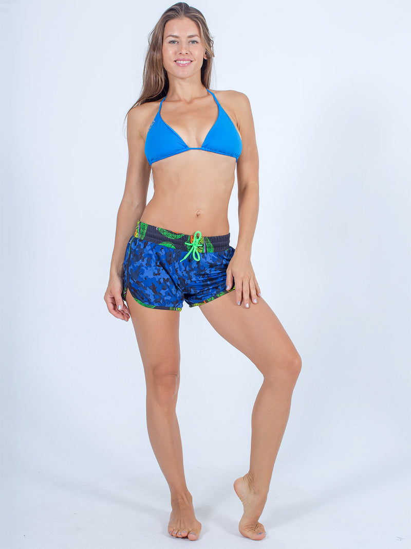 sexy brand womens shorts marisa blue camo with aqua bikini top