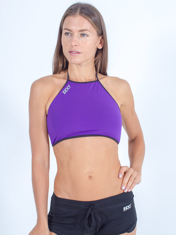 sexy brand womens swim halter top purple with black softie shorts