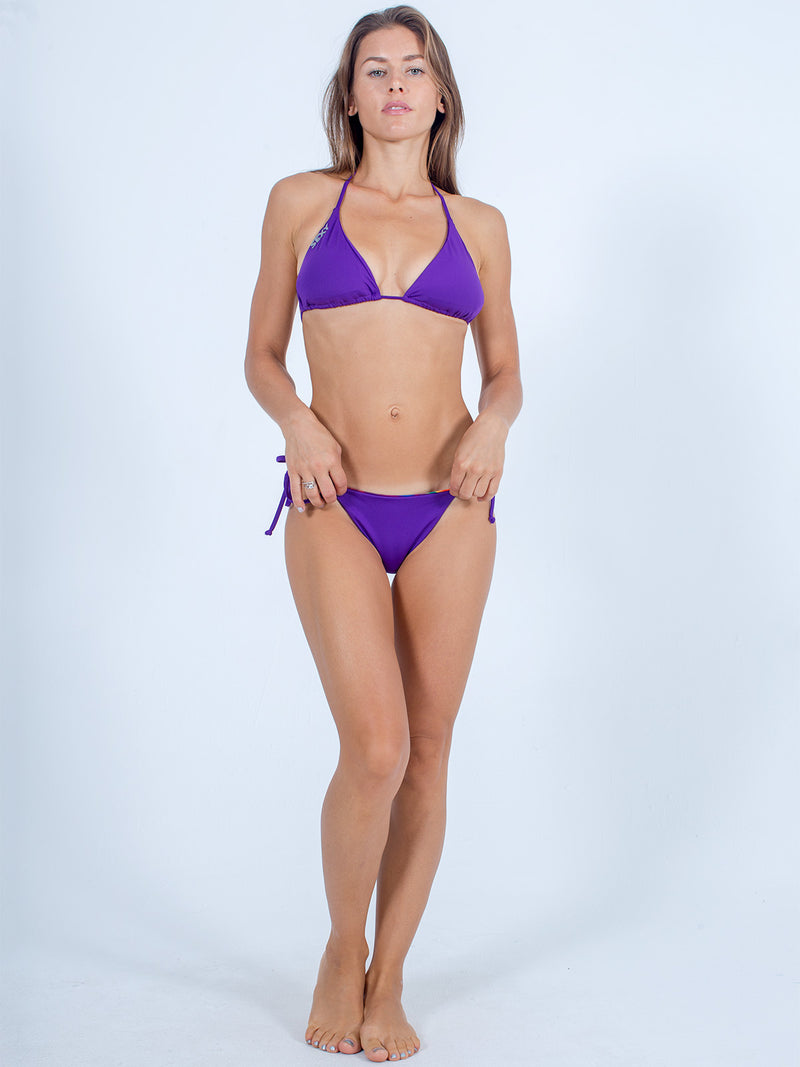 Sexy Brand women's swimwear side tie reversible bikini bottom purple and red sunfire