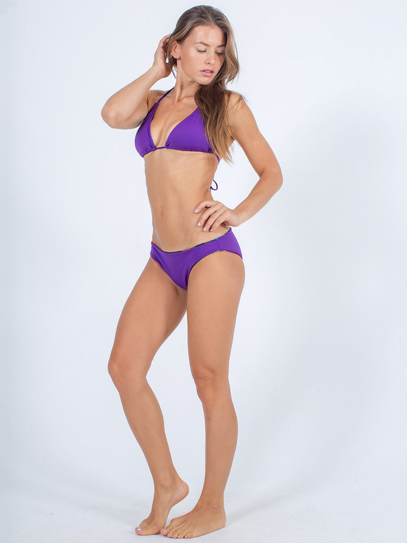Sexy Brand Womens Classic Swim Bottom purple reversible sunfire with purple string top