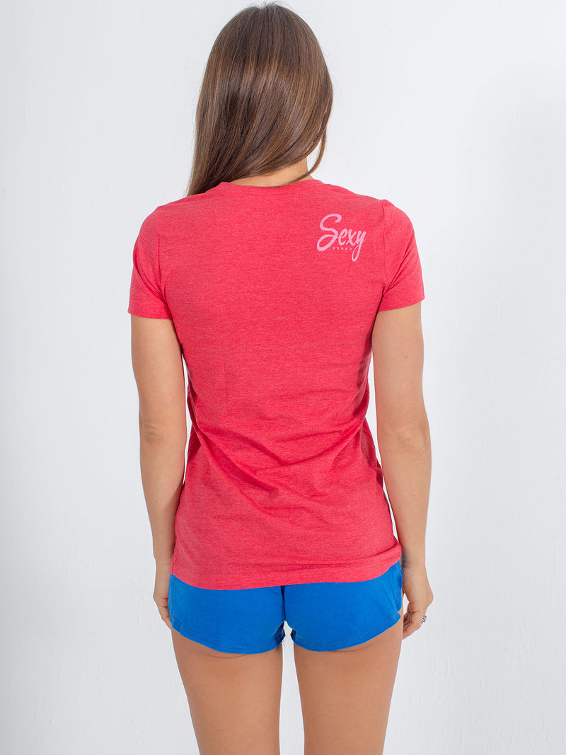 sexy brand womens 3 bar California crew neck red back view sexy detail
