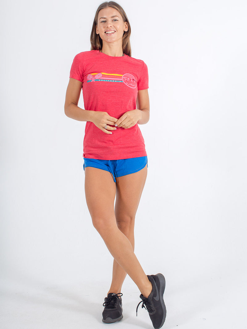 sexy brand womens 3 bar California crew neck red with softie shorts blue