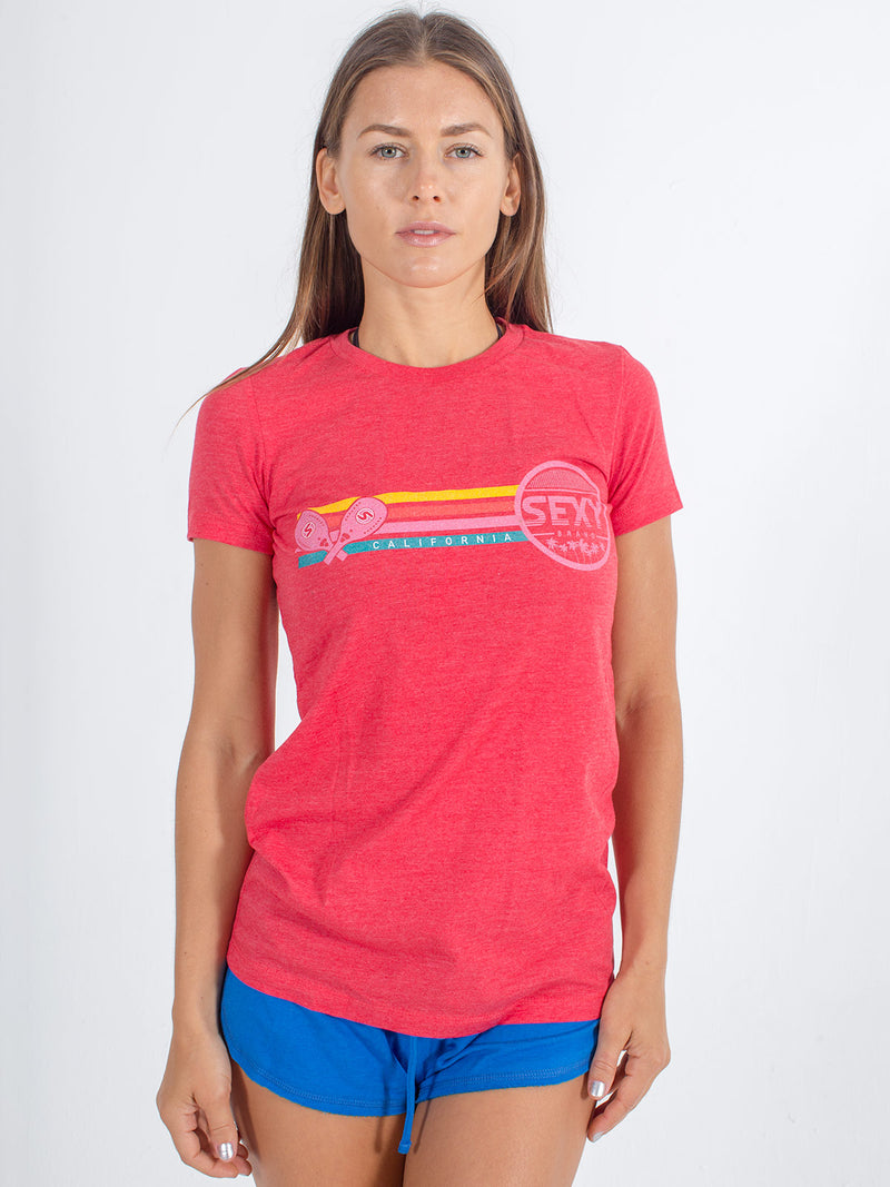 sexy brand womens 3 bar California crew neck red