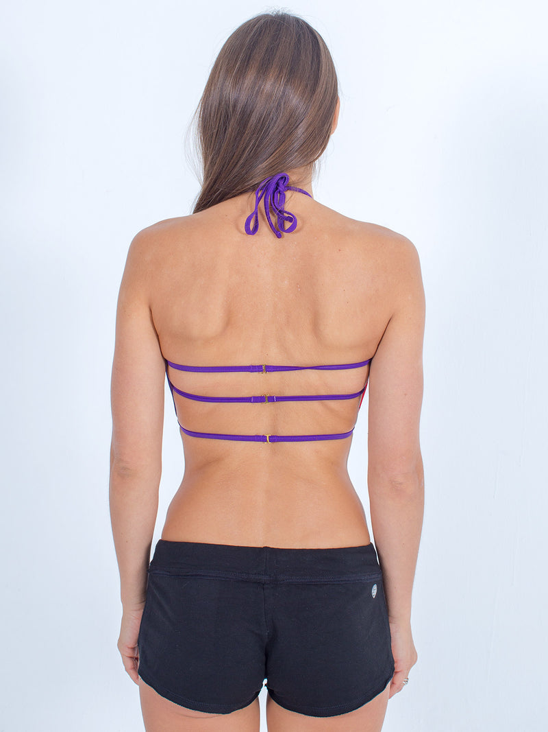 sexy brand womens swim halter top purple with black softie shorts back strap view