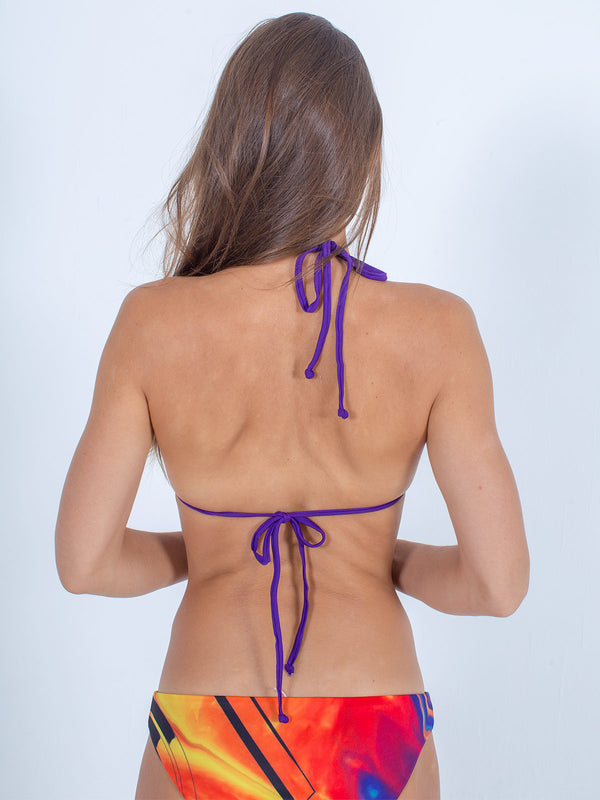 Sexy Brand women's swim bikini purple and red sunfire triangle top back view