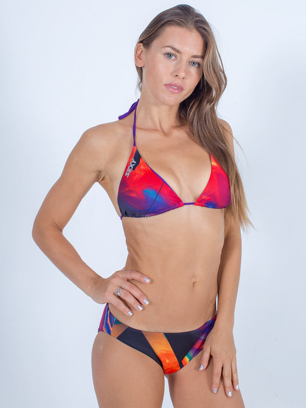 Sexy Brand women's swim bikini purple and red sunfire triangle top