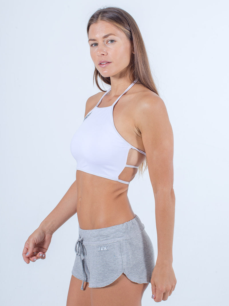 sexy brand womens swim halter top white with gray softie shorts