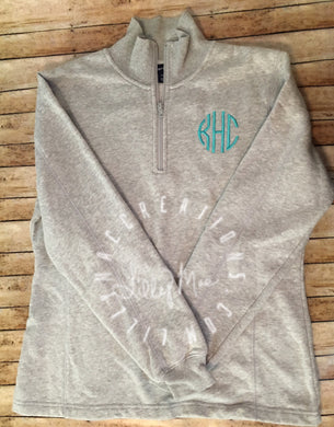 Ladies 1/4 Zip Monogram Sweatshirt