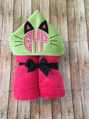 Cat Monogram Hooded Towel