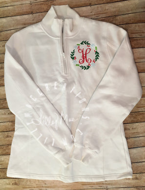 Ladies 1/4 Zip Monogram with Frame Sweatshirt