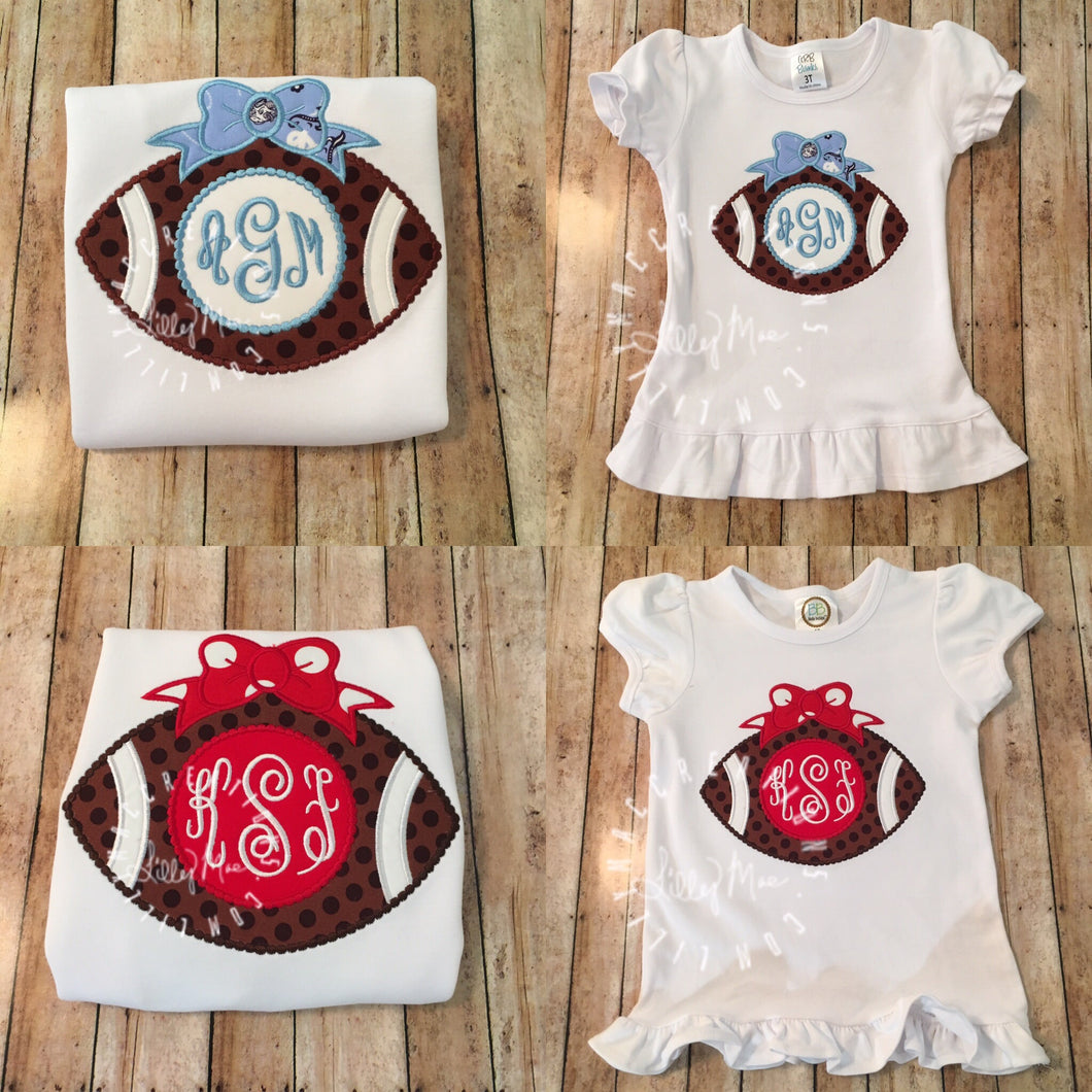 Monogram Football with Bow