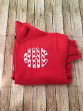 Load image into Gallery viewer, Ladies 1/4 Zip Applique Monogram Sweatshirt