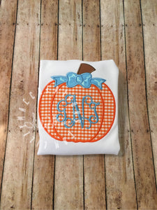 Gingham Pumpkin with Bow