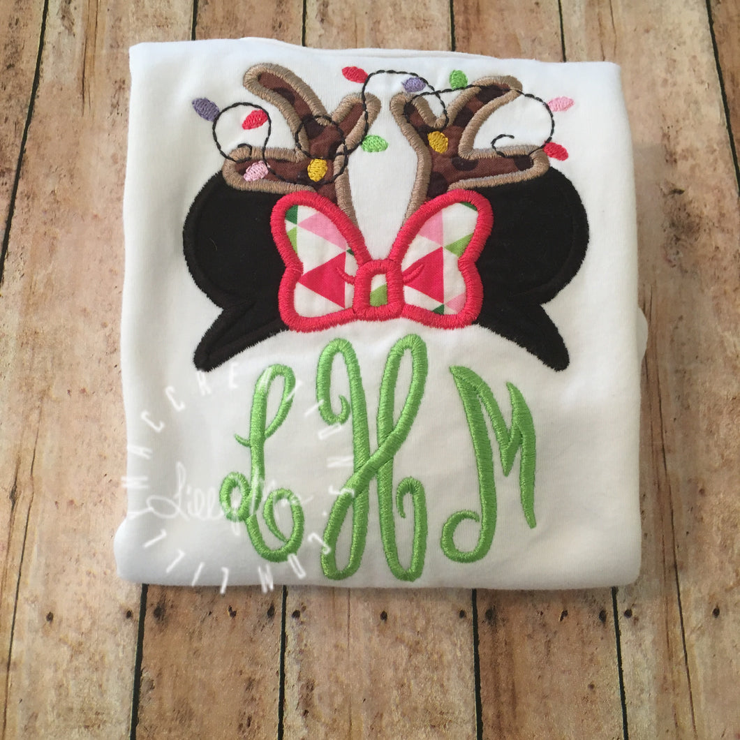 Mouse Reindeer Ears  Monogram Topper Design