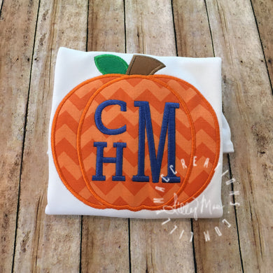 Solid Monogram Pumpkin Design